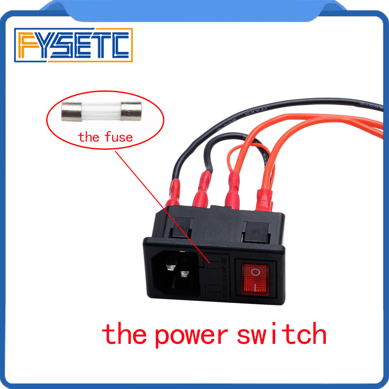 The Power Switch 220V/110V 15A Short Circuit Protection Safety Switch Power Socket For 3D Printer Parts