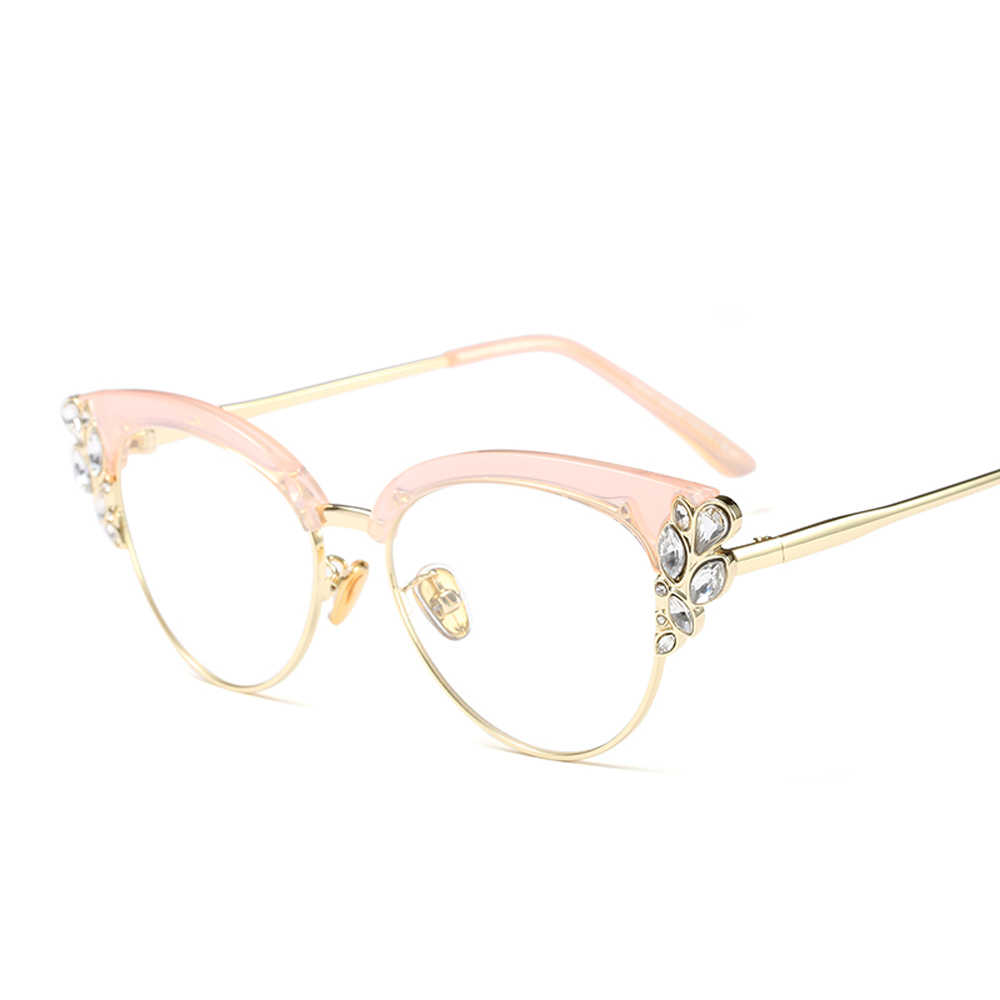 5a14ebfbef ... Peekaboo rhinestone cat eye glasses frames for women brand designers  2018 luxury sexy eyeglasses cat eye ...