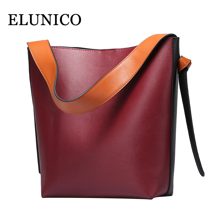 ELUNICO Luxury Handbags Women Bags Designer Summer New Split Leather Tote Bags Leisure Fashion Shopping Messenger Shoulder Bag