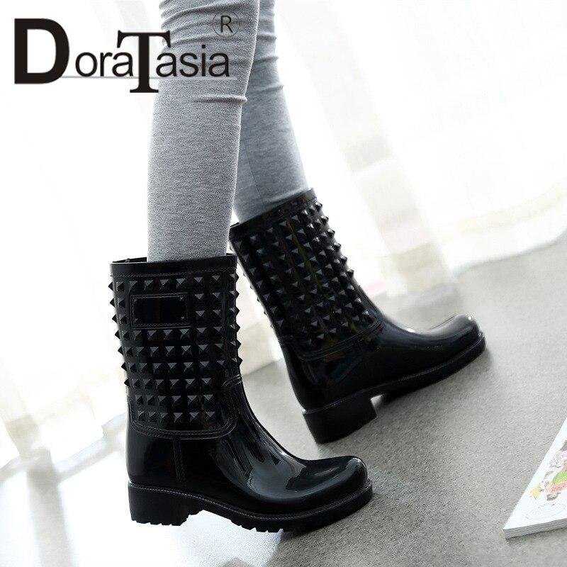 DORATASIA Hot Sale Women Rain Boots 3.5cm Med Heels Waterproof Mid Calf Boots Female Shoes Woman 4 Colors Available size 36 42