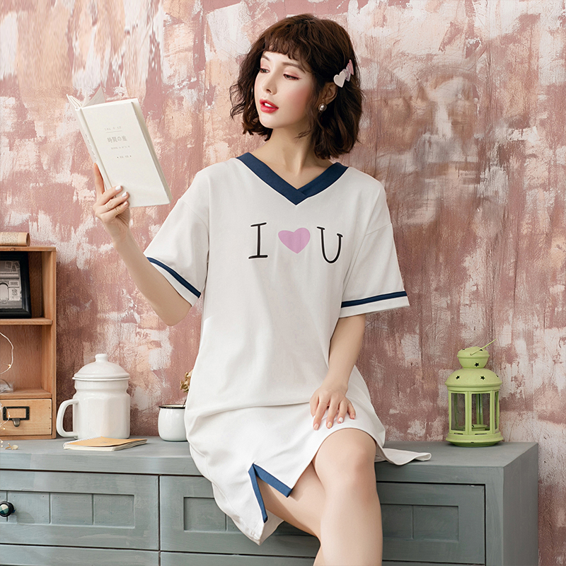 Yidanna Lady V Neck   Nightgown   Summer   Sleepshirt   Female Short Sleeved Fashion Sleep Clothing Women Princess Casual   Sleepshirt