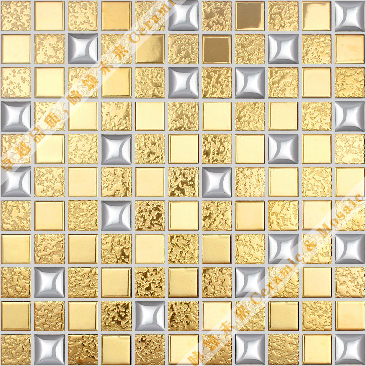 Cheap mosaic backdrop wall stickers puzzle golden brick wall outside ...
