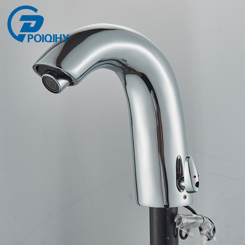 POIQIHY Chrome Sense Basin Faucets Single Hole Foaming nozzle Mixer tap Battery Power Free Faucet Bathroom Sink Deck Mounted 9900 good quality single hole deck mounted polished chrome bathroom basin mixer sink tap faucets