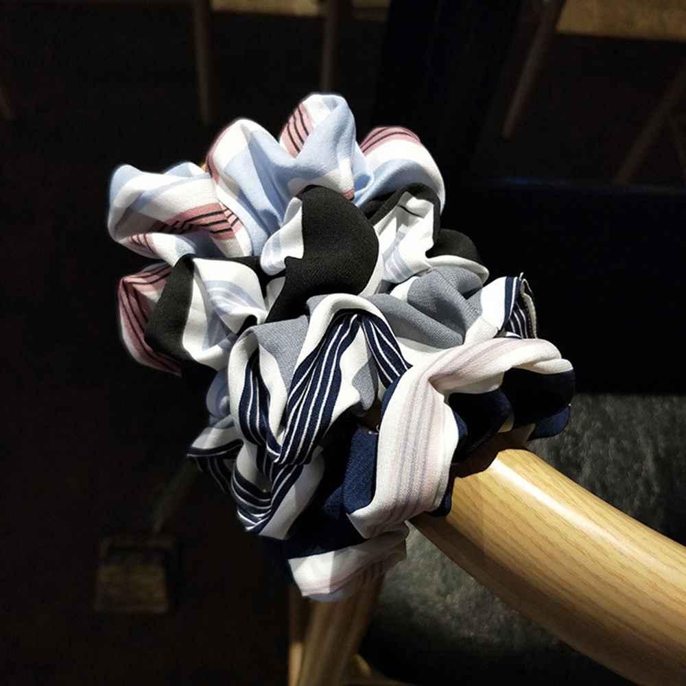 Simple temperamento raya salvaje temperamento pelo anillo cabeza cuerda bola cabeza costillas Funda de cuero accesorios para el cabello banda herramientas de estilismo