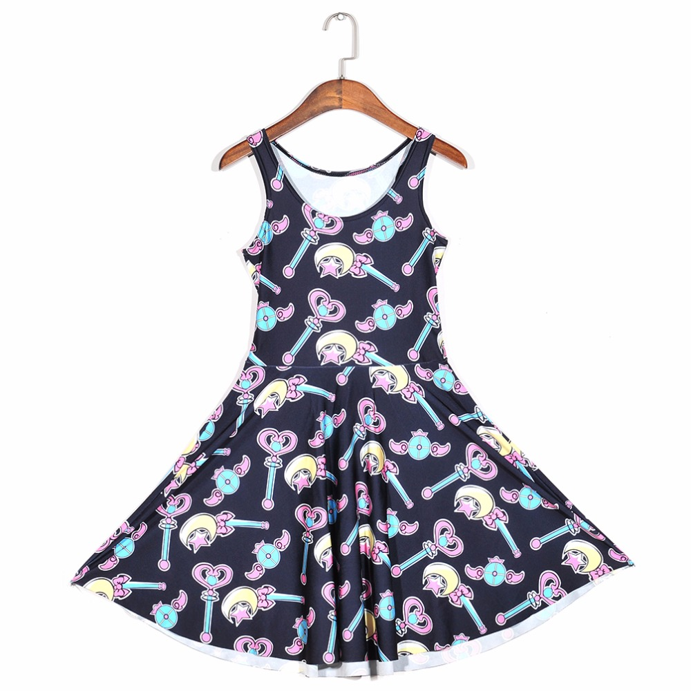 Hot sale Promotions New arrival Fashion 3D Women Magic wand print slim  Expansion sleeveless dress drop shipping  Free shipping-in Dresses from  Women s ... 5c844426d