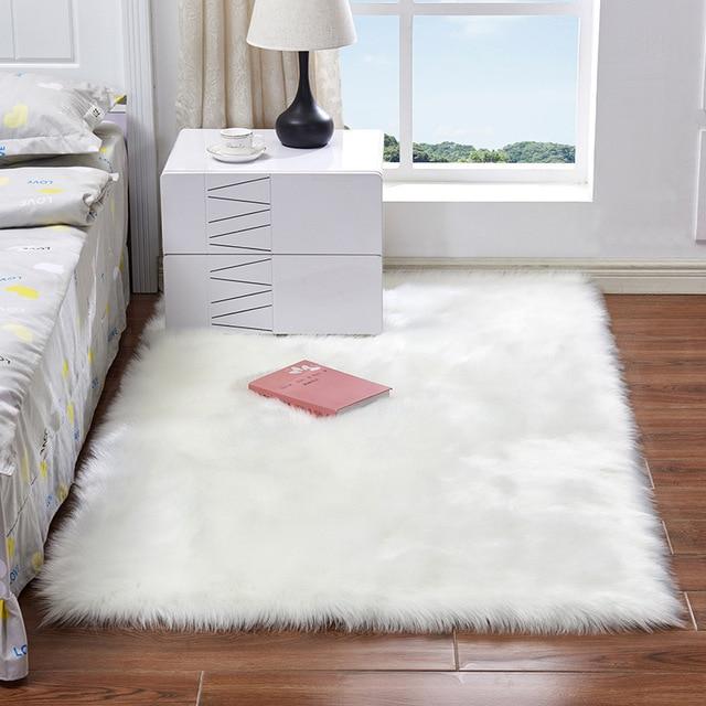יוקרה מלבן כיכר רך מלאכותי צמר כבש פלאפי אזור שטיח לבן פרווה שטיח שאגי ארוך שיער מוצק מחצלת בית תפאורה