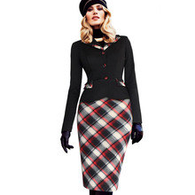 Womens New Arrival 2016 Fall Fashion Colorblock Tartan Lapel Peplum Long Sleeve Wear to Work Business Party Sheath Pencil Dress