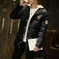 Новый 2016 Мужская Черная Куртка Зимняя Куртка Теплое Пальто С Капюшоном Мужская Хлопок Телогрейки Пальто Masculina Плюс Размер