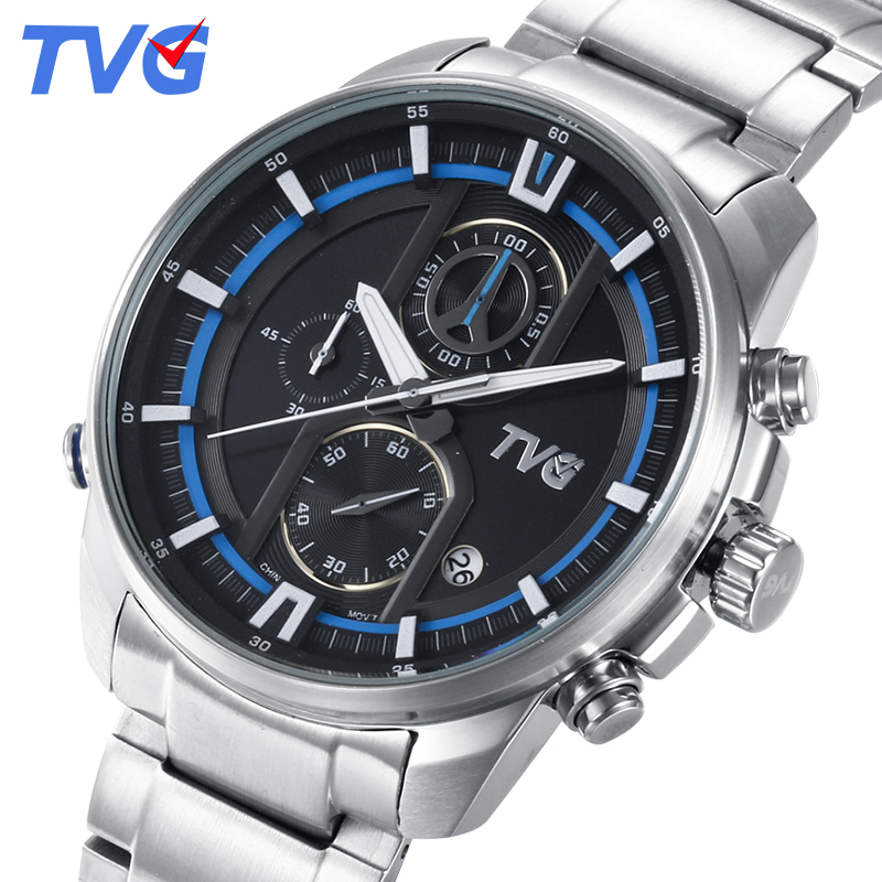 TVG Mens Watches Top Brand Luxury Military Fashion Business Quartz Watch Men  Stainless Steel Sport Waterproof Wrist watch wishdoit watch men top brand luxury watches simple business style fashion quartz wrist watch mens stainless steel watch relogio