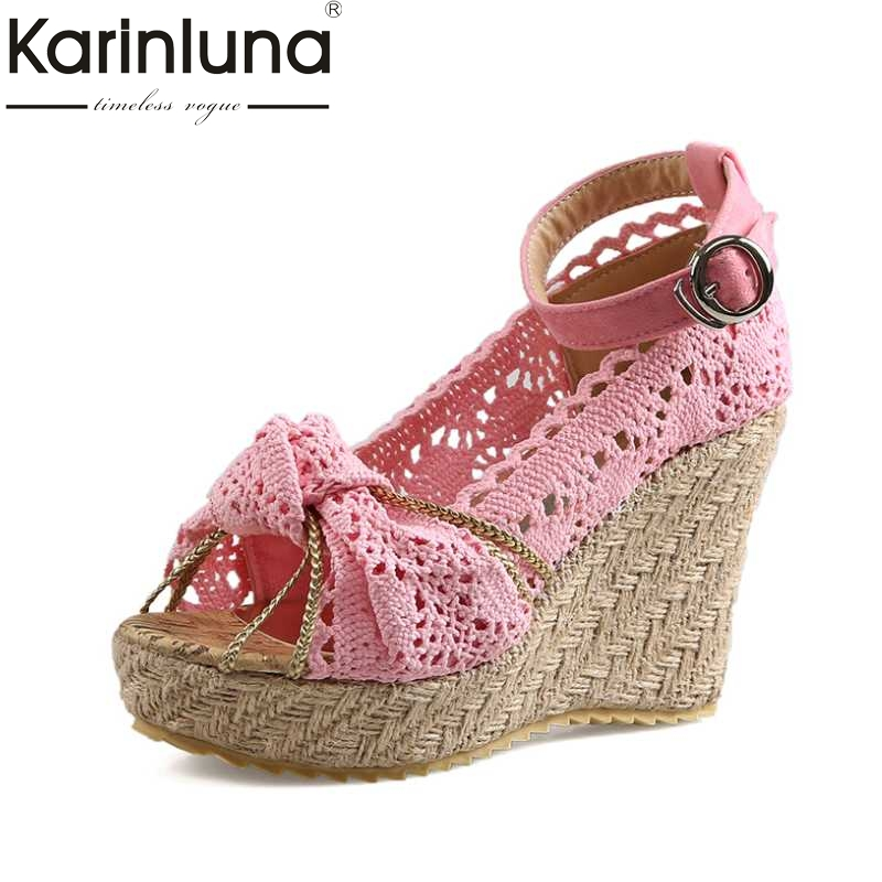 KARINLUNA Designer Lace Upper High Heel Sandals Sweet Knot Open Toe Platform Ankle Straps Summer Grass Slope Wedge Shoes sweet wedge heel and knot design sandal for women