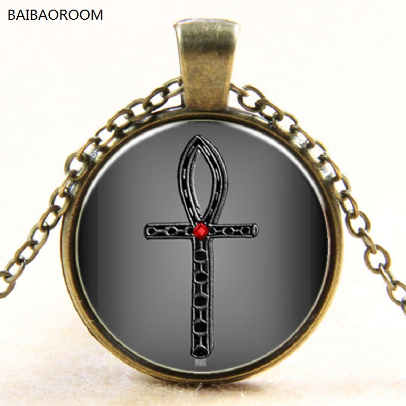 Grey Ancient Egypt Ankh Cross Time Gem Pendant Necklace Glass Necklace Europe New Y022