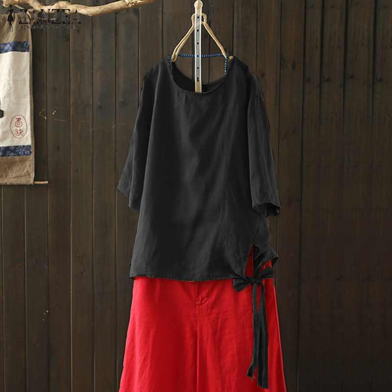 2019 プラスサイズ ZANZEA 夏の女性のカジュアル固体 O ネック 3/4 スリーブレースアップコットンリネンビーチパーティーブラウスダブダブのシャツ