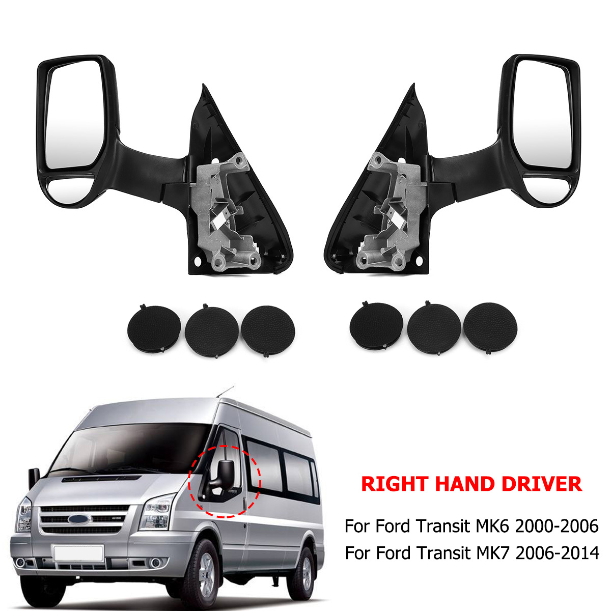 Car Right Wing Mirror Left Wing Mirrors For Ford Transit MK6 MK7 Transit Right Hand Driver Side Long Arm car electric window toggle switch front for ford transit mk6 2000 2006