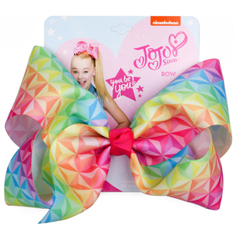 8 quot Large JoJo Bow W Hair Clip For Girls Kids Handmade Metalic Printed Ribbon Knot Jumbo Hair Bow stone Hair Accessories HCKC003 in Hair Accessories from Mother amp Kids