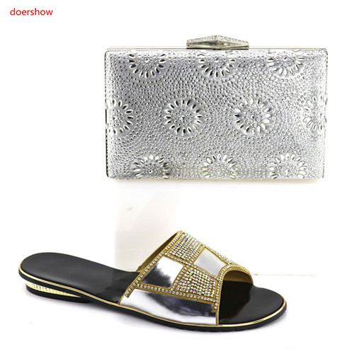doershow Ladies Italian Shoes and Bag Set silver Italian Ladies Shoes and Bag Set Decorated with Rhinestone for party HBV1-19 doershow ladies italian shoes and bag set decorated with rhinestone african wedding shoes and bag set party black shoes svp1 15