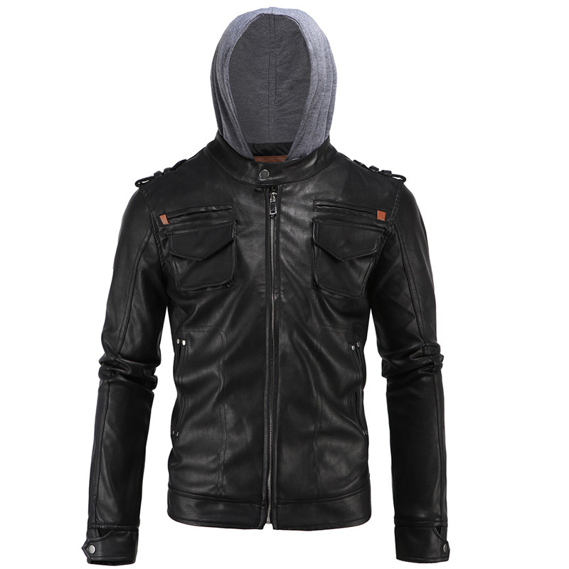 2018 High-end European and American Temperament Men's Leather Simple Motorcycle Hooded Large size Black Leather Size L-4XL