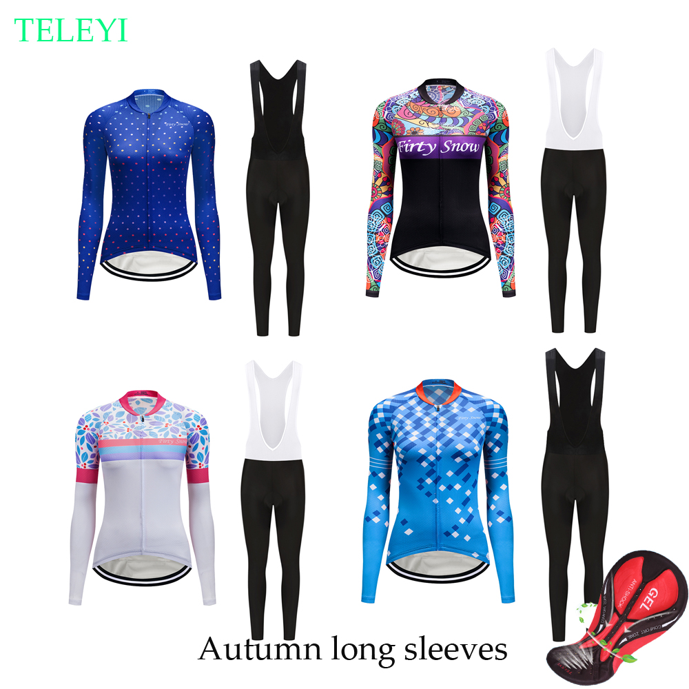 Spring Autumn cycling clothing women 2019 Pro bicycle jersey set retro bike  clothes BIB pants 777238fda