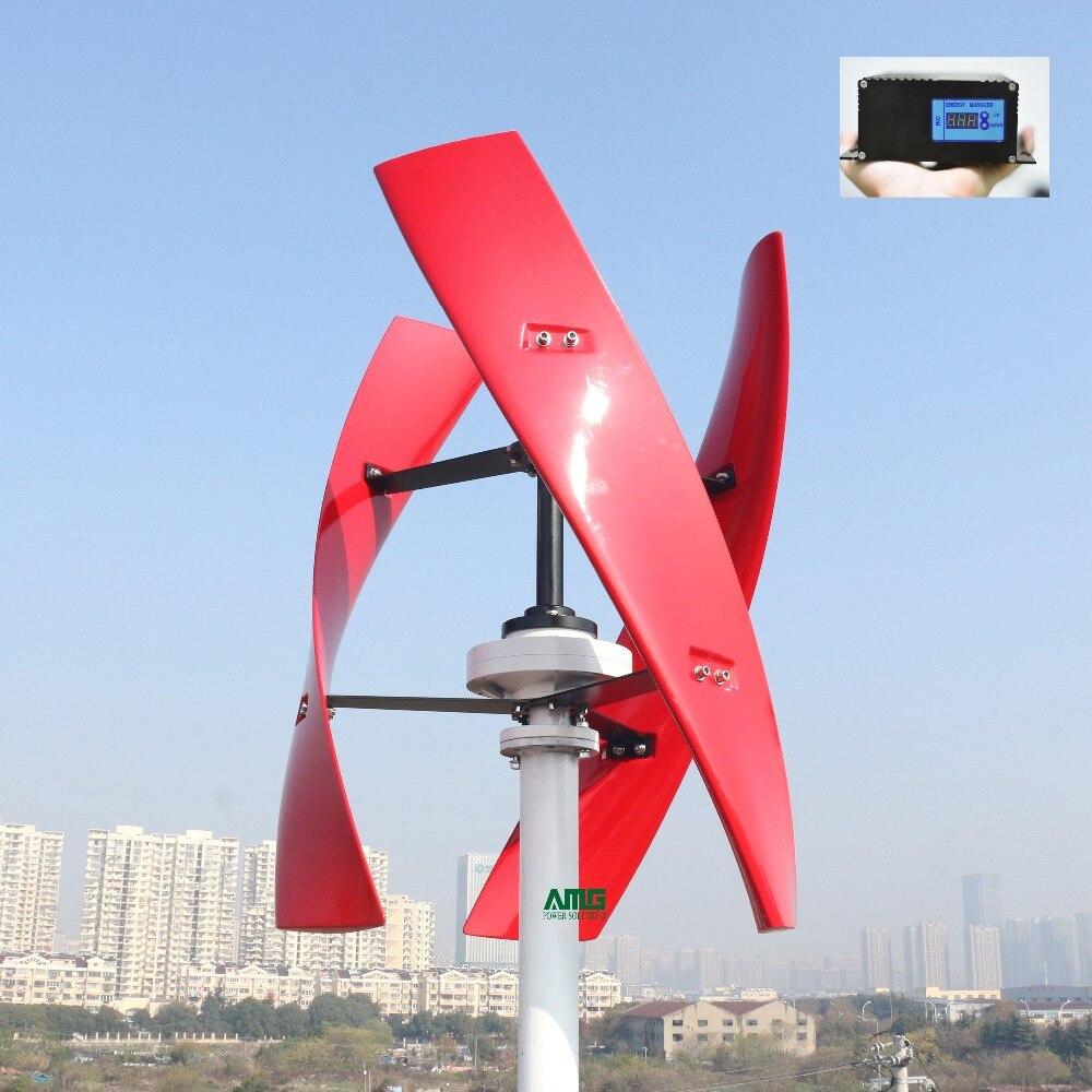 600 W 24 V spirale éolienne générateur rouge/blanc VAWT axe Vertical énergie résidentielle avec contrôleur de chargeur MPPT/PWM