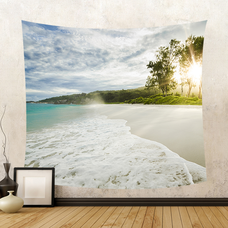 Beautiful Sea View Sea Waves Letter WELCOME Wall Hanging Tapestry Boat Beach Towel Sunshine Decorate Living Room Office