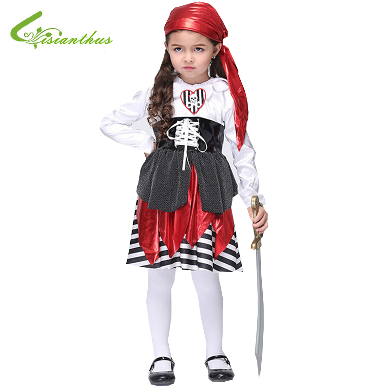 Halloween Children Girls Caribbean Pirate Costume Suit Dress Pirates Costumes Cosplay for Girl Kids Long Sleeve Clothing Set New