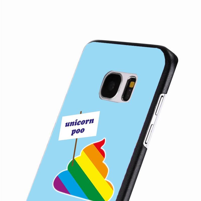 LvheCn phone case cover For Samsung Galaxy S3 S4 S5 mini S6 S7 S8 edge plus Note2 3 4 5 7 8 Funny Unicorn Poo Joke Colourful