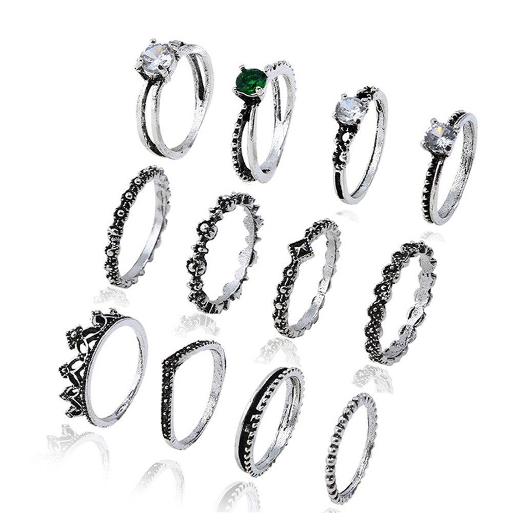 CRLEY 12 estilo Bontique Conjuntos Anel de Cor Prata para Mulheres Pave AAA Zircão Conjuntos de Jóias Nupcial Do Casamento Da Coroa Do Coração de Pedra anéis