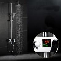 Digital Display Shower Set Bathroom 8 Rain Shower Head Tub Mixer Faucet Chorme Finish Wall Mount