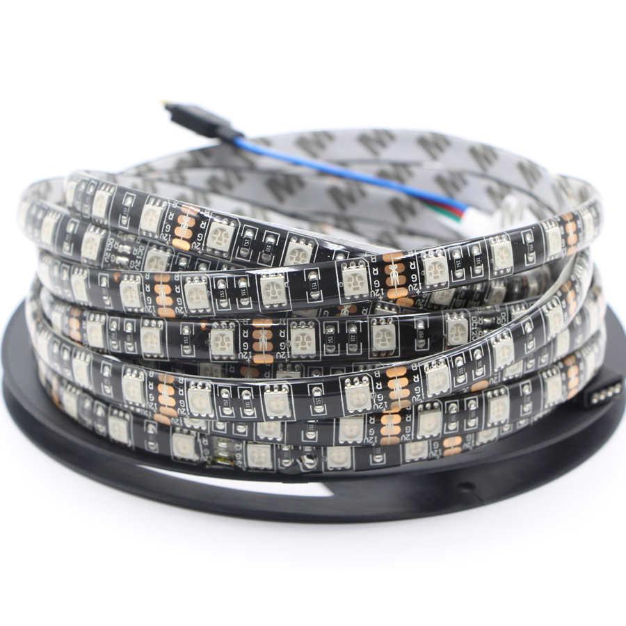 Ultra jasne led pasek światła 12V 24V czarny 1M 5M nadaje się do ściemniania 5050 rgb LED 60 diod led/m wstęga led LED rgb led pasek taśma diodowa lampa