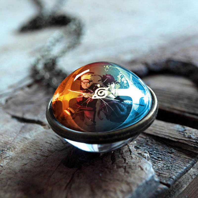 XUSHUI XJ Naruto Uzumaki Double Sided Glass Ball Pendant Necklace Women Fashion Anime Jewelry Glass Cabochon Necklace Chain Gift