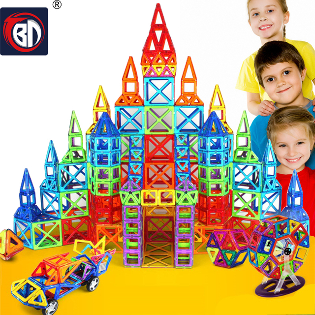 BD 352 PCS Kids Magnetic Blocks Construction Enlighten Assembly Building Blocks Toys Kids Educational DIY Plastic Technic Brick
