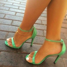 Sexy Green Patent Leather Single Strap High Heel Women Sandals Celebrity Stiletto Heel Ankle Buckle Strap Office Lady Shoes cute girl buckle strap deer printing leather shoes irregular little deer heel shoes double cherries high heel shoes deer heel