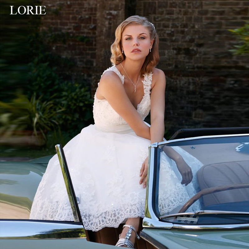 LORIE short wedding dresses 2019 vintage Lace bridal gowns A line Sleeveless vestido de noiva custom