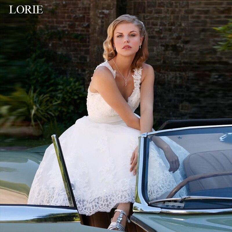 LORIE short wedding dresses 2019 vintage Lace bridal gowns A-line Sleeveless vestido de noiva custom made wedding party dress