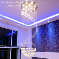 Spiral Foyer Stair Crystal Pendant Light Lighting Modern LED Crystal Pendant Light Lighting Free Shipping