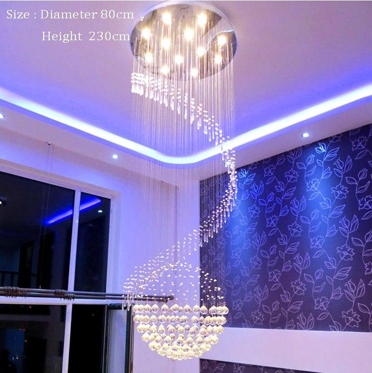 Spiral Foyer Stair Crystal Pendant Light Lighting Modern LED Crystal Pendant Light Lighting Free Shipping stair light