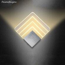Feimefeiyou LED applique da parete In Alluminio progetto ferroviario Quadrato HA CONDOTTO LA lampada da comodino lampada da parete camera da letto lampade da parete arti 2 formati
