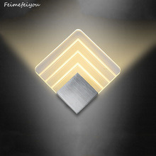 Feimefeiyou LED الألومنيوم جدار قضبان للقطار الخفيفة مشروع مربع وحدة إضاءة LED جداريّة مصباح السرير غرفة نوم الجدار مصابيح الفنون 2 الأحجام