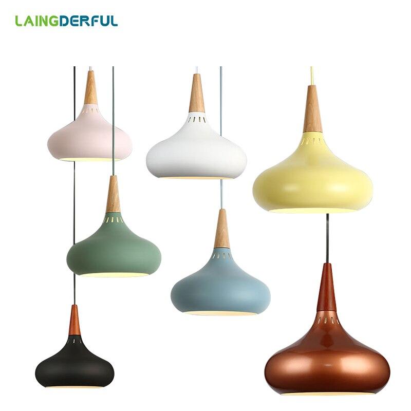цена на Fashion Colorful Modern Metal Pendant Lights Lamparas Minimalist nordic light shade Luminaire Dining Room Lights Pendant Lamp
