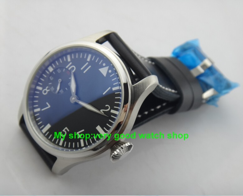 47mm Big dial PARN pilot 6497/3600 gooseneck tube Winding Movement Black Dial Wrist Watch High quality luminous men watches 116 rauf kuliyev let it beso a