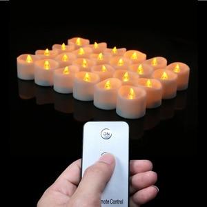 Image 3 - パックの 3 ウォームホワイトライトリモート candele 、黄色ちらつき velas perfumadas 、フレームレスちらつきキャンドル家の装飾