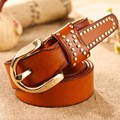 Free shipping/new 2016/women belt/high quality genuine leather belts/strap for women/rivet designer/metal buckle/quality/wlb077