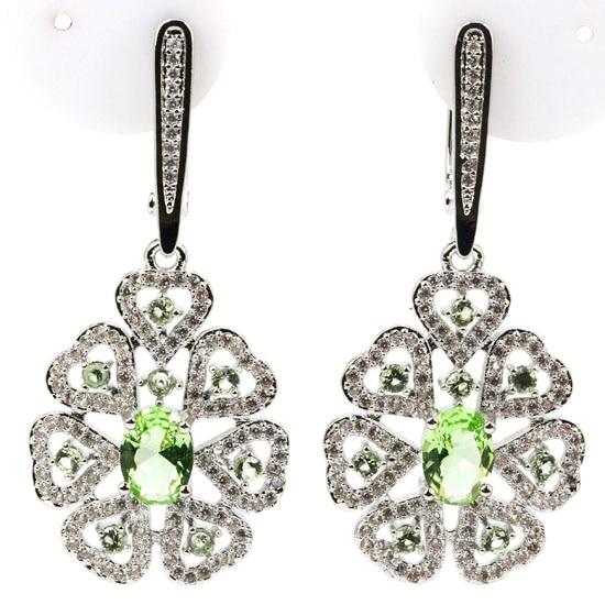 Luxury Long Light Green Tsavorite Garnet White CZ Woman's 925 Silver Earrings 46x21mm