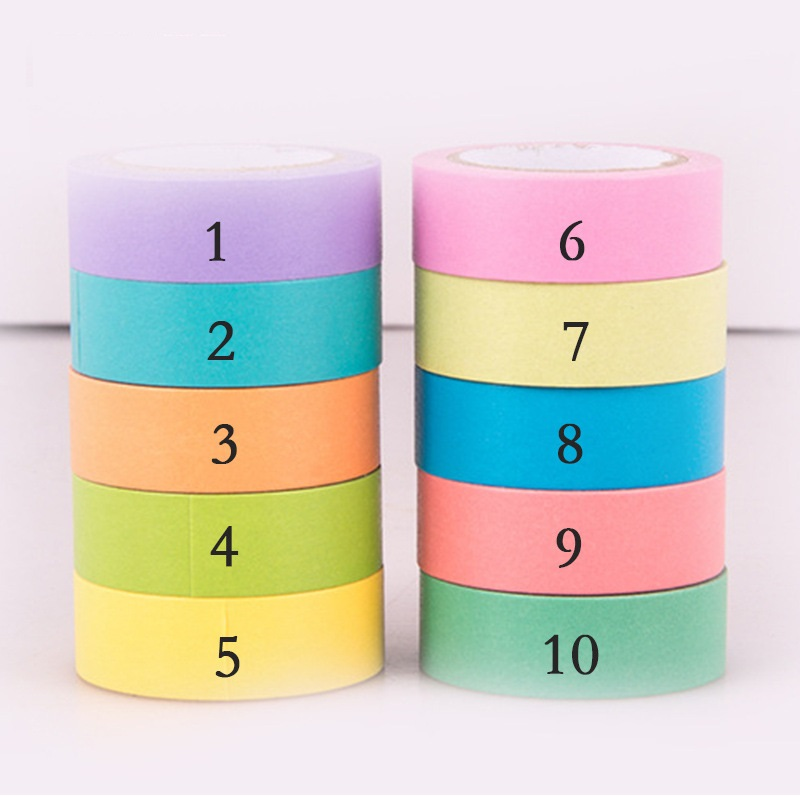 How to DIY Temporary Wallpaper Using Candy Color Washi Tape set Beautiful Scrapbook Cheap Stickers Stationery 15MM*10M/PC 10pcs