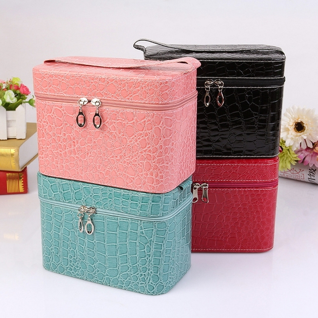 Free shipping Fashion solid womens cosmetic bag Trunk makeup bags High-quality PU Four colors Organizer toiletry bag
