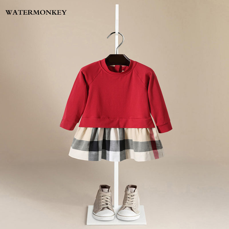 Children girls dress autumn 2018 O-Neck Full Sleeve Plaid Cotton Casual kids dresses for girls Red dress girl clothes For 1-5T white casual round neck ruffled dress