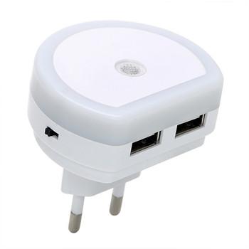 Nowoczesna Mini wtyczka LED lampka nocna z podwójnym portem USB zmierzch do świtu przenośna lampa 5V 1A czujnik światła lampa do sypialni oświetlenie domu tanie i dobre opinie sxzm Night Light ROUND CN (pochodzenie) XYD-CZ-2USB Lampki nocne NONE Żarówki LED 220 v 110 v W nagłych wypadkach 0-5 w
