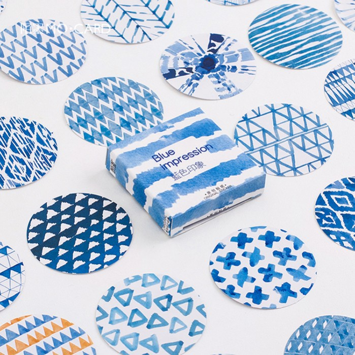 45 Pcs/pack Blue Impression Label Stickers Decorative Stationery Stickers Scrapbooking DIY Diary Album Stick Label