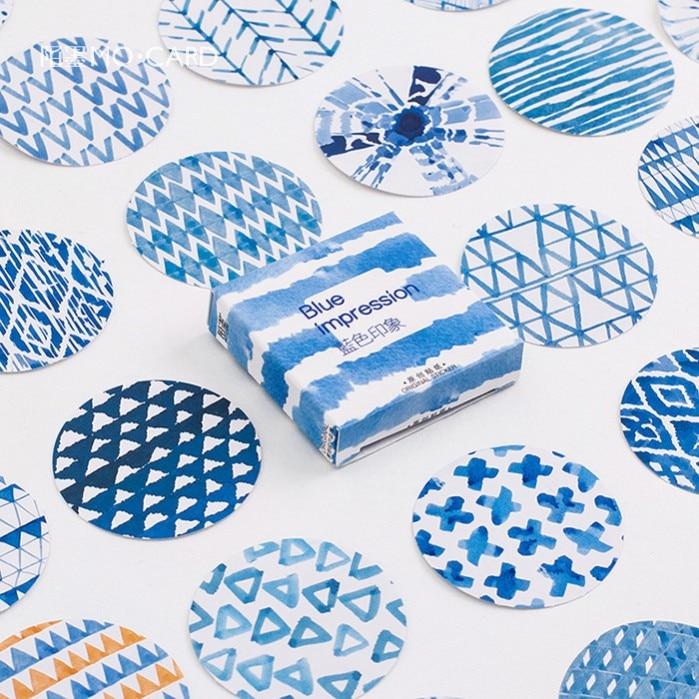 45 Pcs/pack Blue Impression Label Stickers Decorative Stationery Stickers Scrapbooking DIY Diary Album Stick Label