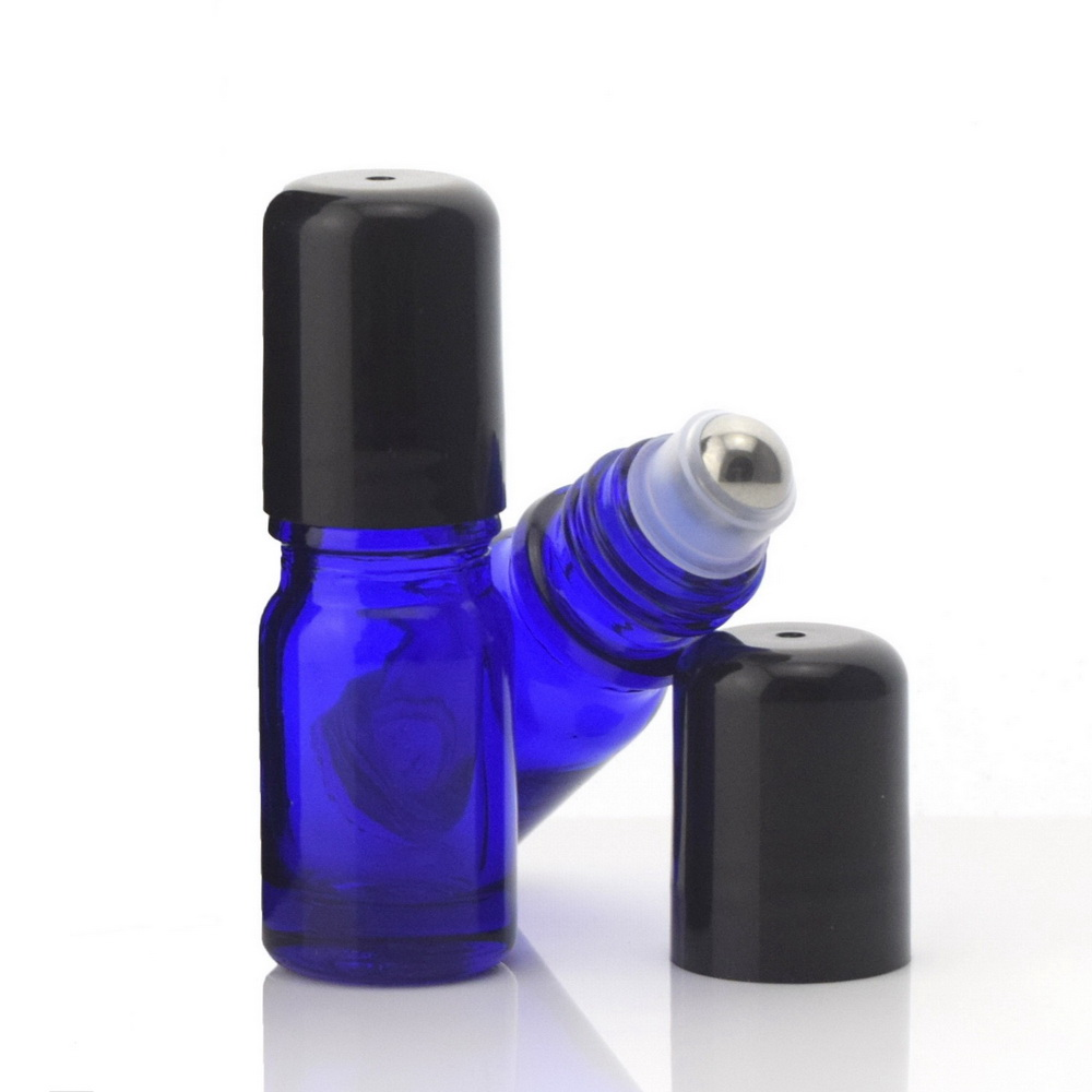 12 X 5ml Cobalt Blue Glass Bottles Roll On Vials With Stainless Steel Roller Ball Cap Lid For Perfume Essential Oil Aromatherapy