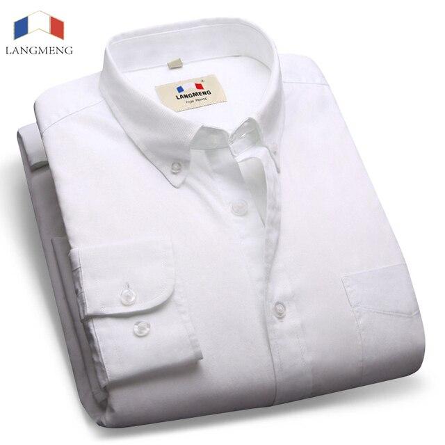 Langmeng 2016 Brand Mens Formal Business Shirts Casual Slim Long Sleeve Dress Shirts Camisa Masculina Formal Shirts Asian Size